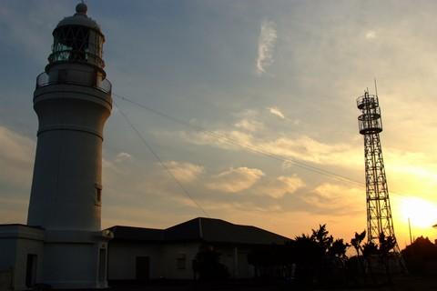 御前埼灯台と夕日