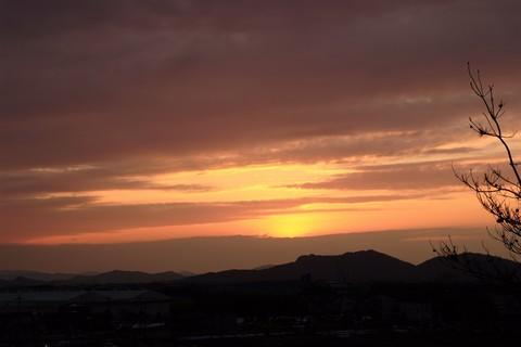 秦荘PAからの夕日